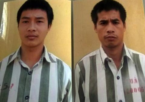 Cuối năm 2015, Triệu Quân Sự (trái) và Nhâm Văn Tuấn (phải) đang thi hành án thì bỏ trốn khỏi Trại giam T10 và bị bắt sau hơn 1 tháng bị truy nã. Ảnh: Công an cung cấp.