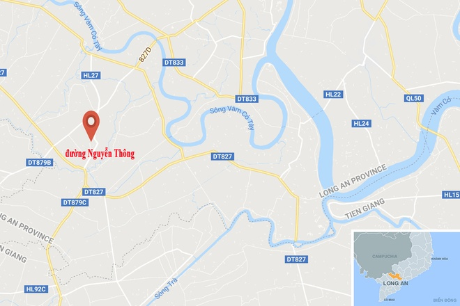 Xe tai lao len via he tong ban nhau, 2 nguoi nguy kich hinh anh 2 map_longan_tainan.jpg