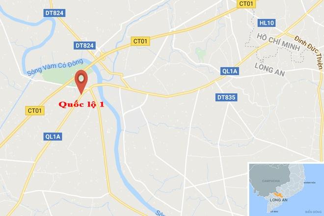 Xe tai can chet hai hoc sinh o Long An hinh anh 2 map_longan_tainan.jpg