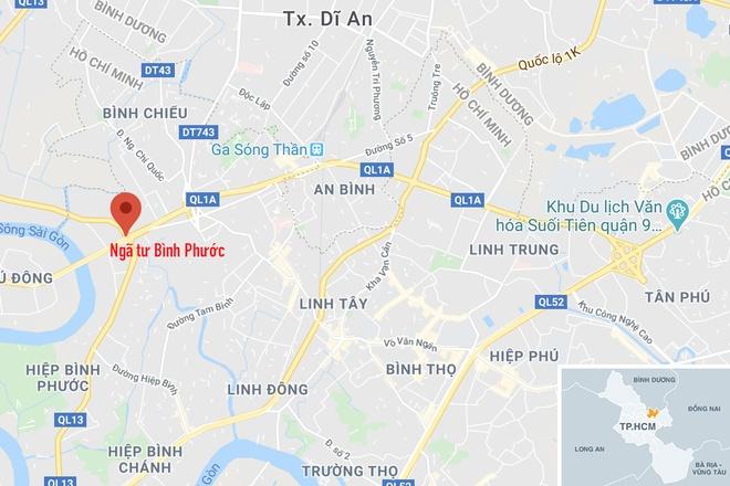 Ngã tư Bình Phước, quận Thủ Đức (chấm đỏ), nơi xảy ra vụ tai nạn. Ảnh:Google Maps.