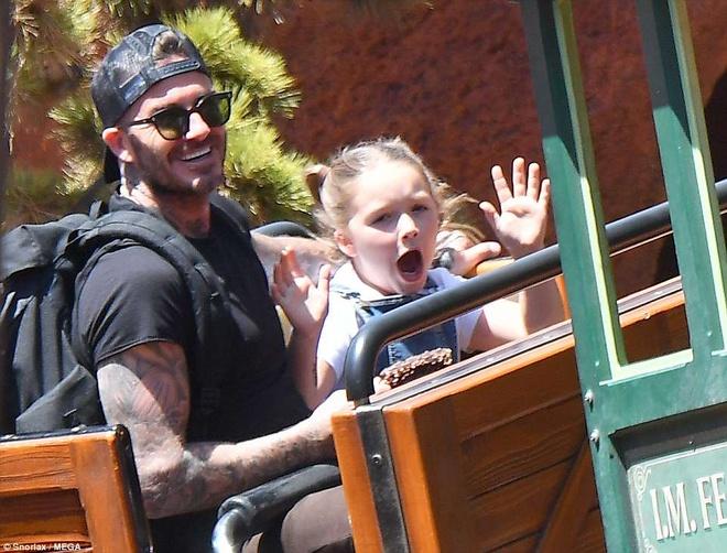 Vo chong Beckham dan cac con di choi Disneyland hinh anh