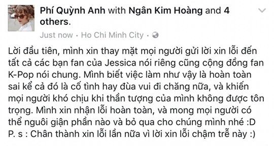 Quynh Anh Shyn nhan sai, cong khai xin loi fan Jessica hinh anh 2