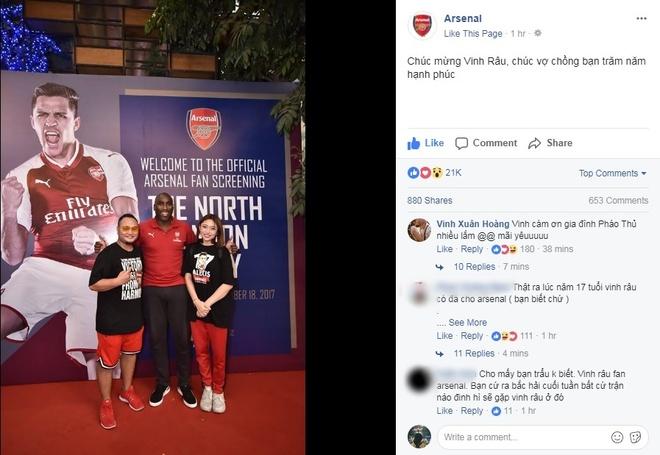 Fanpage doi bong Arsenal dang anh chuc mung dam cuoi Vinh Rau hinh anh 1