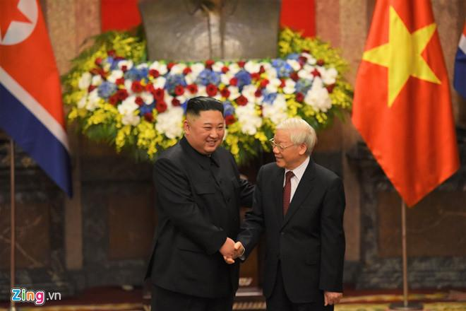 Tong bi thu, Chu tich nuoc Nguyen Phu Trong dien mung ong Kim Jong Un hinh anh 1