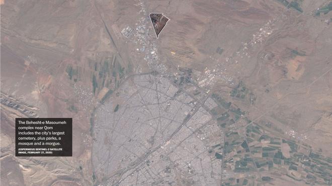 Khu nghĩa trang Behesht-e Masoumeh ở gần thành phố Qom. Ảnh: Maxar Technologies.