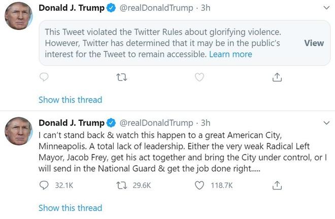 Twitter an tweet cua TT Trump vi vi pham quy dinh 'ngoi ca bao luc' hinh anh 1 trump_tweet.jpeg