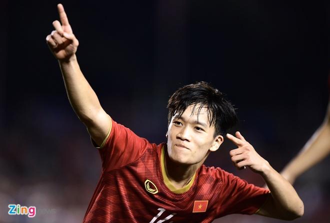 Hoàng Đức là người ghi bàn ấn định chiến thắng của U22 Việt Nam trước U22 Indonesia ngày 1/12. Ảnh:Thuận Thắng.
