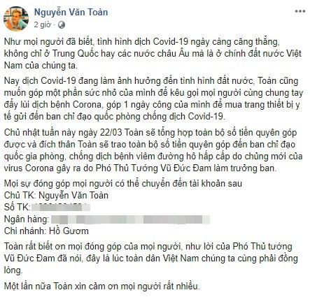 Van Toan quyen gop tien, Xuan Truong keu goi nguoi dan o nha mua dich hinh anh 2 Untitled_1_.jpg