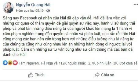 Quang Hai lo tin nhan rieng tu anh 1