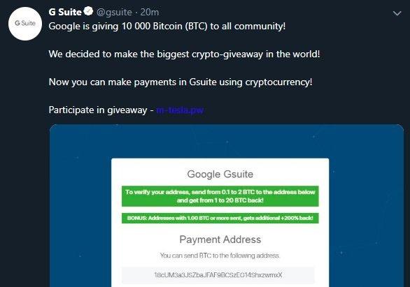Tai khoan Google tren Twitter bi hack, hua tang 10.000 Bitcoin hinh anh
