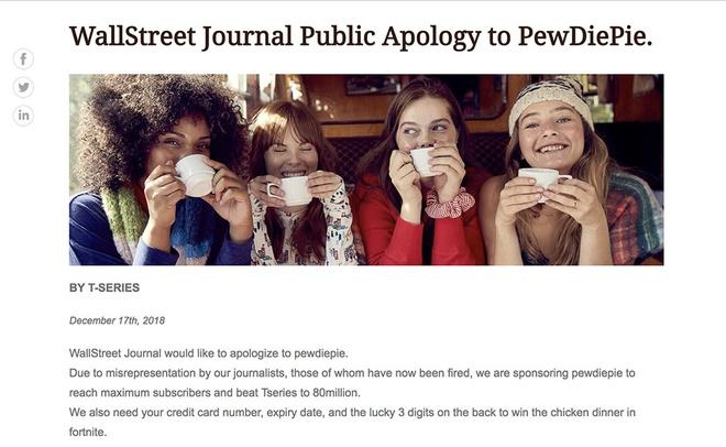 To Wall Street Journal bi hack, dang loi xin loi PewDiePie hinh anh 1