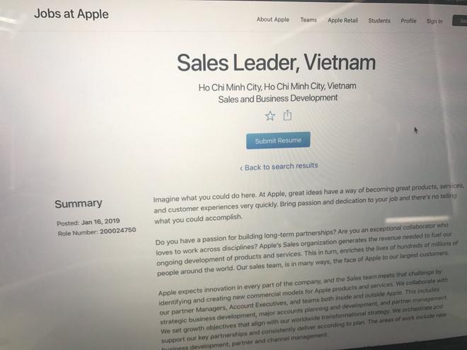 Apple tuyển Giám đốc kinh doanh tại Việt Nam