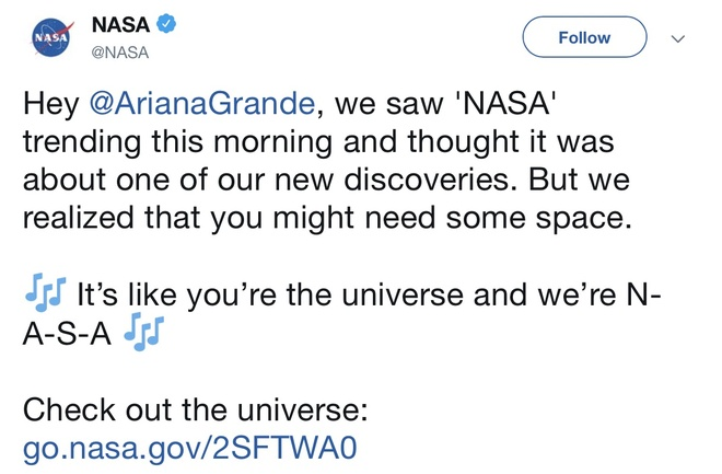 NASA khoe duoc dua vao bai hat cua Ariana Grande hinh anh 1