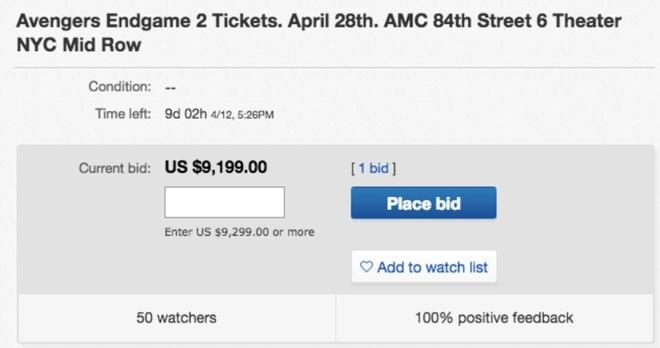 Ve xem Avengers: Endgame rao gia 9.000 USD/cap hinh anh 1