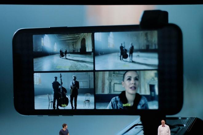 Apple trình diễn tính năng quay phim cùng lúc bằng 4 camera trên iPhone 11 Pro bằng ứng dụng Filmic Pro. Ảnh: The Verge.