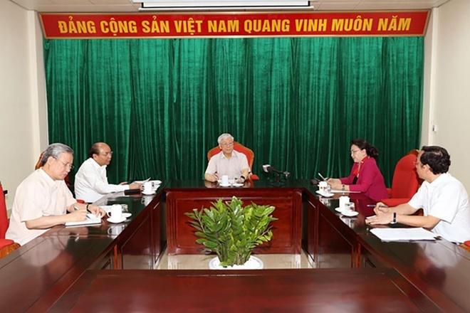 Tong bi thu Nguyen Phu Trong chu tri hop lanh dao chu chot hinh anh 1
