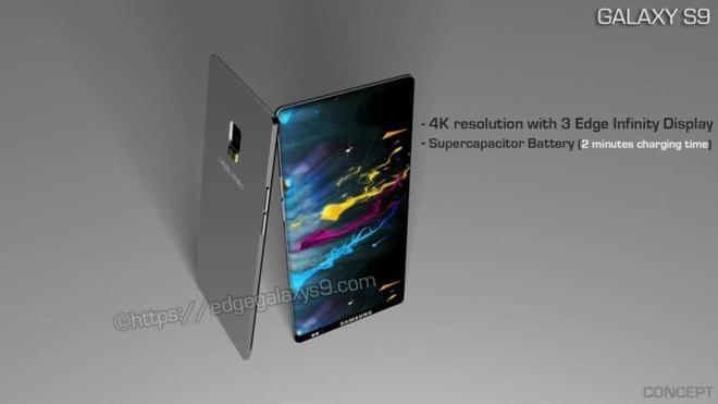 Thiet ke Galaxy S9 man hinh '3 Edge Infinity', pin day trong 2 phut hinh anh 2