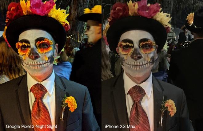 Ảnh chụp bằng Night Sight của Google và iPhone XS Max. Ảnh: The Washington Post.