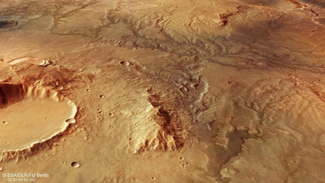 Một góc nhìn khác về các thung lũng sông trên sao Hỏa vốn đã khô căn từ lâu. Ảnh: ESA.