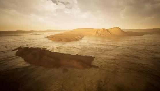 Ảnh minh họa hố thiên thạch Gale được lấp đầy nước. Ảnh: ESA.