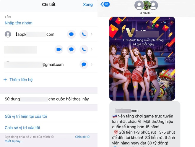 Nguoi dung than phien vi quang cao co bac ngap tran iMessage Group anh 1