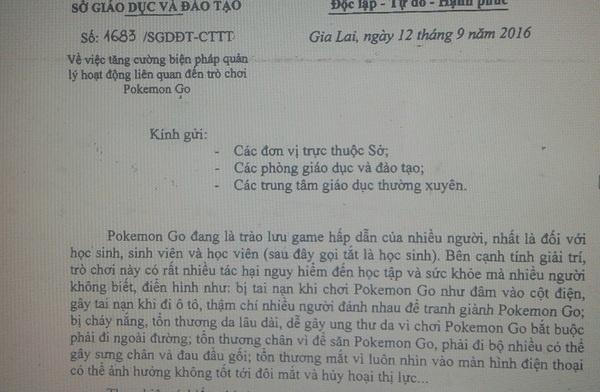 Gia Lai cam giao vien, hoc sinh choi Pokemon Go hinh anh 1