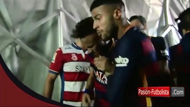 Neymar bi danh vao mieng khi dang an mung? hinh anh