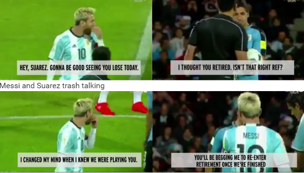 Messi va Suarez che mieng thi tham chuyen gi? hinh anh 1