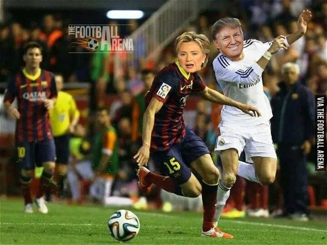 Anh vui Trump danh bai Clinton phien ban bong da hinh anh 2