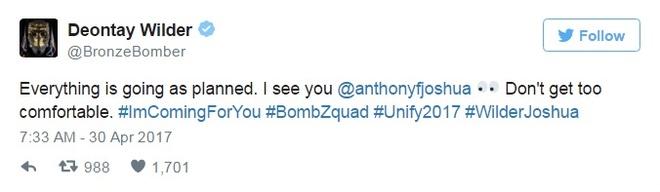 Deontay Wilder thach dau Anthony Joshua anh 2