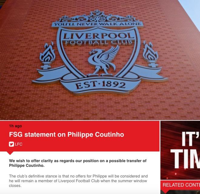 Liverpool chinh thuc tu choi ban Coutinho cho Barca hinh anh 1