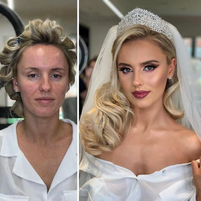 Loạt ảnh 'gây sốc' chứng minh sức mạnh to lớn của trang điểm cô dâu