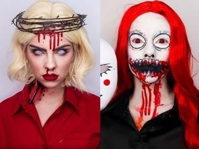 Hot girl lot xac voi man make up ma quai cho dip Halloween hinh anh