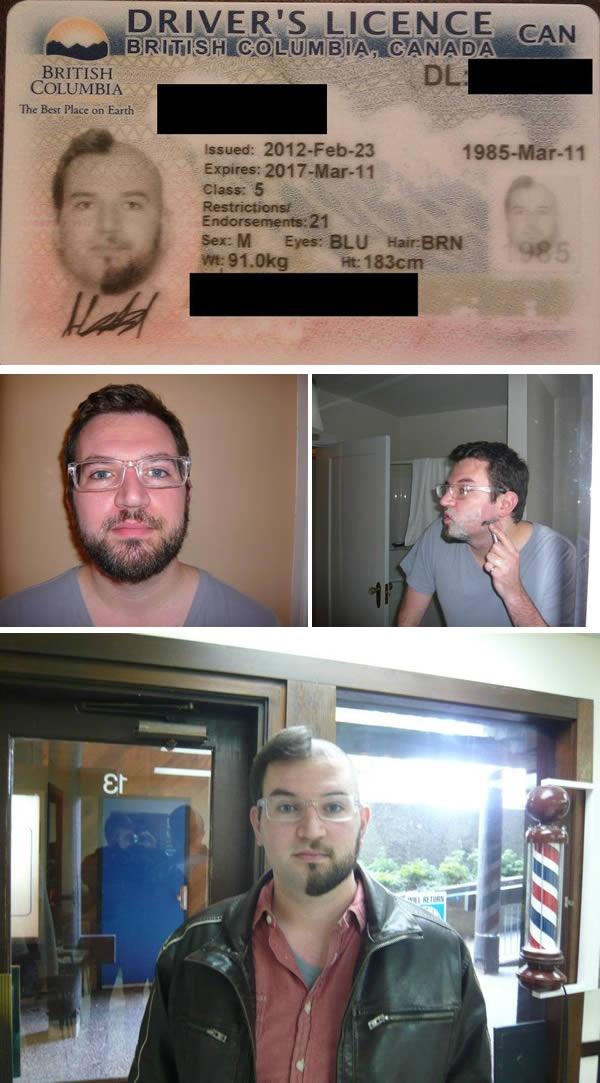 """Nhung cau chuyen hai huoc ve chup anh the bang lai xe hinh anh 5 Không giống như trường hợp của Prankster, người đàn ông này mất hàng tháng để nuôi râu, tóc để chụp ảnh thẻ. Sau đó, anh quyết định cắt tỉa theo dạng """"một mất, một còn"""" nhằm cho ra tấm giấy phép lái xe có 1-0-2 trên thế giới."""