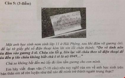 Loi nhan xin loi vi lam be kinh xe vao de kiem tra hoc ky hinh anh