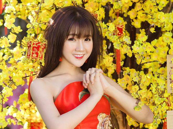 'Hot girl vuon dao' Kieu Trinh: Tet nay toi van F.A hinh anh