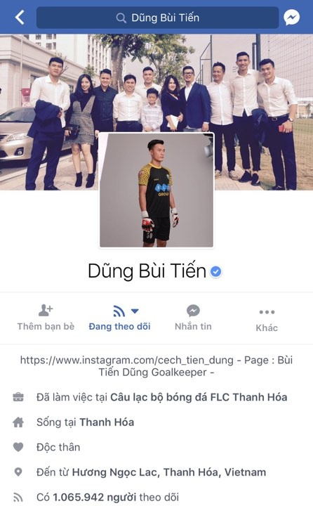 Facebook cua thu mon Bui Tien Dung vuot moc mot trieu follow hinh anh 2