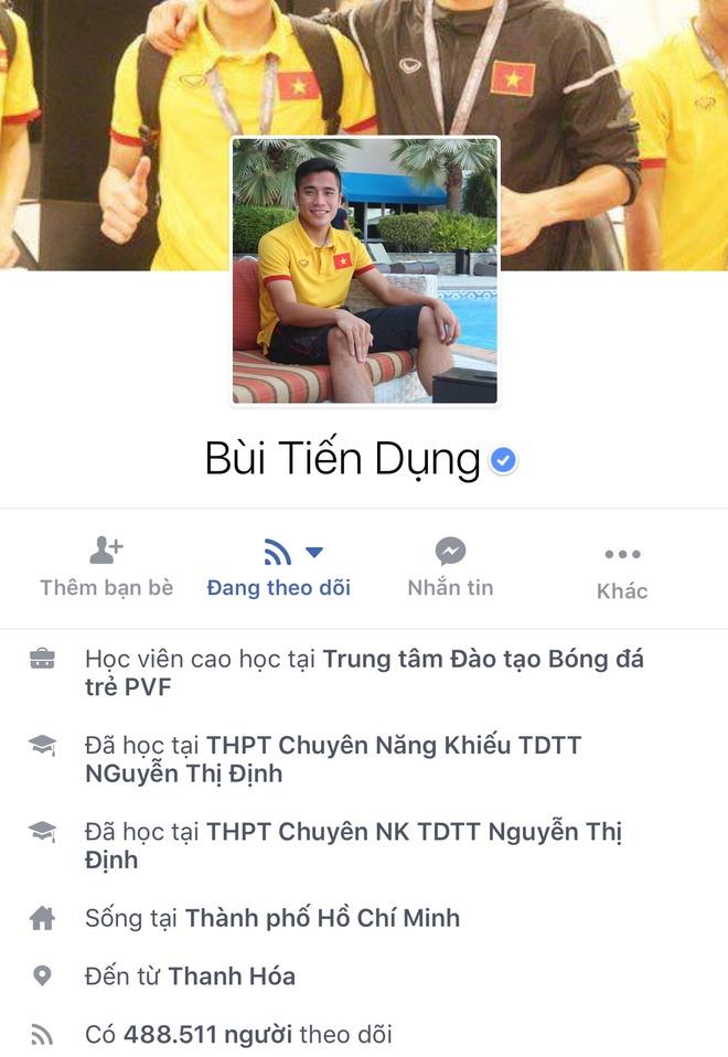 Facebook cau thu U23 tang chong mat, Tien Dung dat 2,5 trieu follow hinh anh 6