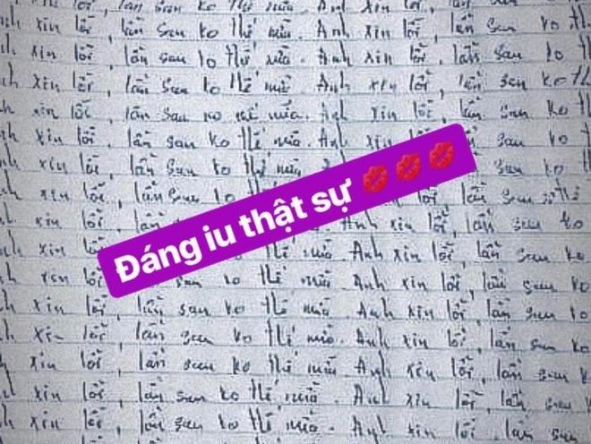 Nguoi yeu Ngoc Thao viet 50 cau xin loi de 'ta toi' voi ban gai? hinh anh