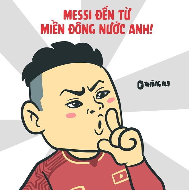 Tranh vui: Tuyen Viet Nam uong bia bang cup, Quang Hai hoa sieu nhan hinh anh 6