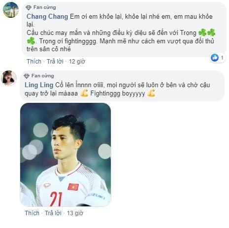 Fan mong Dinh Trong som tro lai sau khi dieu tri chan thuong hinh anh 2