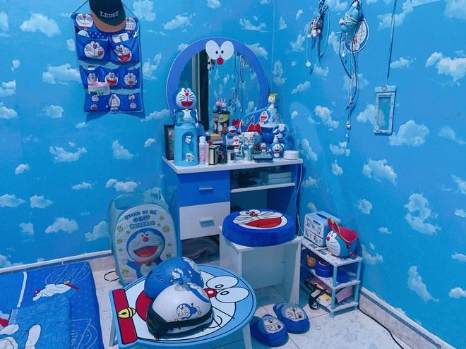 Co gai 27 tuoi thiet ke phong ngu ngap tran hinh Doraemon hinh anh 1