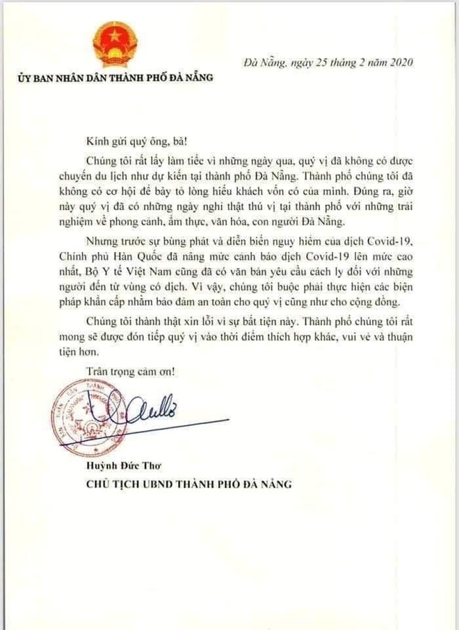 Chu tich TP Da Nang gui thu xin loi nhom du khach Han Quoc hinh anh 1 DN1.jpg