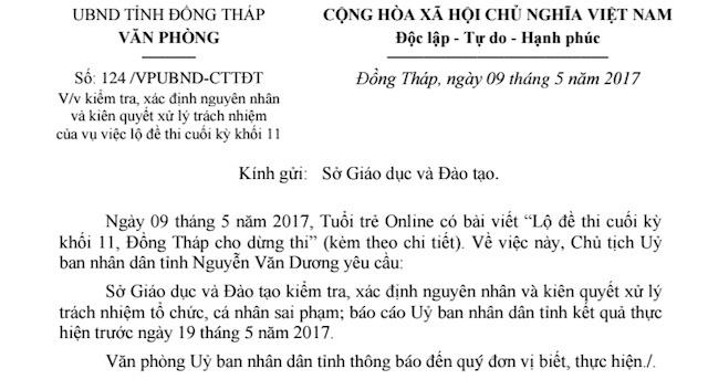 Chu tich UBND tinh Dong Thap chi dao xu ly nghiem vu lo de thi hinh anh 1