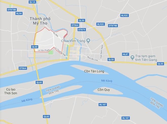 Phường 5 (khoanh đỏ), nơi xảy ra vụ việc. Ảnh: Google Maps.