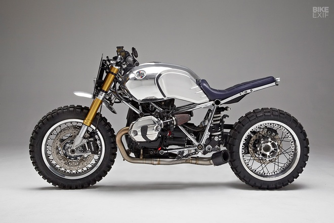 Xe do BMW R nineT theo phong cach cafe racer voi khung ma crom hinh anh 1