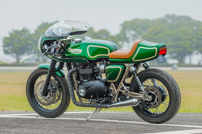 Xe do Triumph T120 Cafe racer xanh ngoc bich la lam hinh anh 2