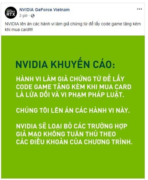 Bài post trên fanpage Nvidia.