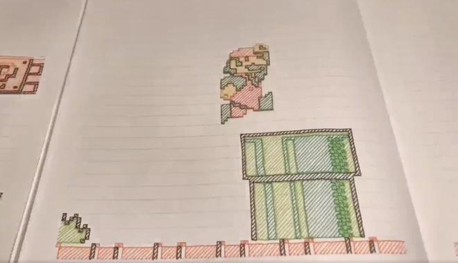 Game Mario 'moc' tren giay gay sot Twitter Nhat Ban hinh anh