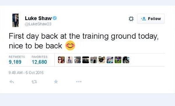 Luke Shaw lan dau tro lai san tap cua M.U sau chan thuong hinh anh 1 Những dòng chia sẻ của Shaw trên trang cá nhân của mình.